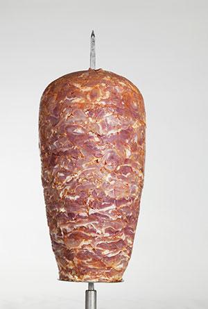 Drehspieß aus Puten und Hähnchenfleisch